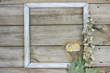 Rustic sign with flowers and heart