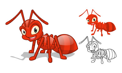 High Quality Detailed Red Ant Cartoon Character with Flat Design and Line Art Black and White Version Vector Illustration
