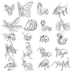 Set of Insect Cartoon Character Line Art Outlined Vector Illustration