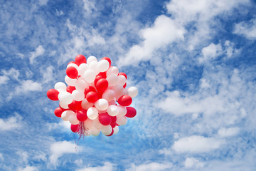 Balloons in sky, clouds. Celebration, event