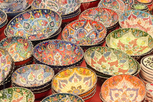 Classical Turkish ceramics in a local turkish bazaar