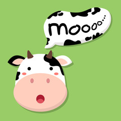 "cute cow head saying ""moo"" in green background"