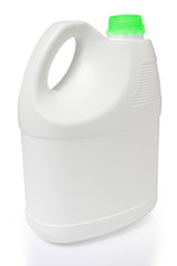 white gallon and green color cap polyethylene on white backgroun