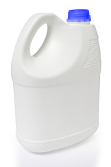 white gallon and blue color cap polyethylene on white background
