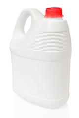 white gallon and red color cap plastic on white background inclu