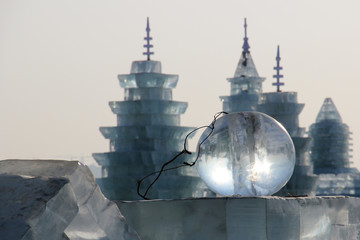 Ice ball in front of ice buildings in Harbin China