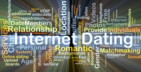 Internet dating background concept glowing