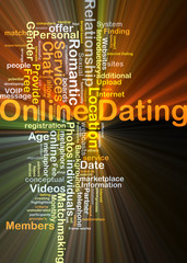 Online dating background concept glowing