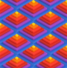 Colorful 3D boxes pyramid background - vibrance cubes seamless pattern