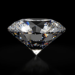 Big beatiful luxury diamond on black background isolated with clipping path