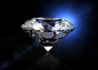 Big luxury diamond on black background isolated with clipping path