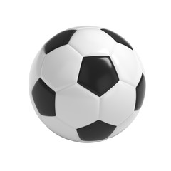 Football - Soccer ball HQ 3D render isolated with clipping path on white