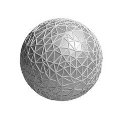 triangular 3D sphere on white isolated with clipping path