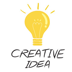 Doodle yellow light bulb inspiration creative idea concept