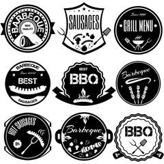 Set bbq, grill; sausages; restaurant; steak; retro vintage badge