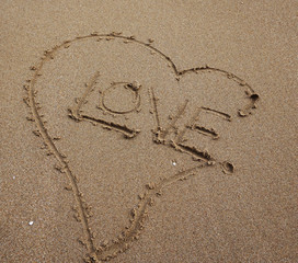 Love written on the beach