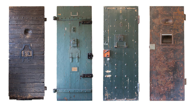 Collection of four old prison doors