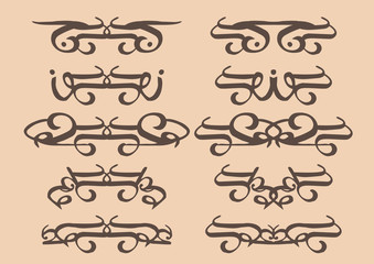Vintage vector decorative design elements in sepia