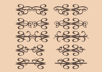 Vintage decorative vector design elements in sepia