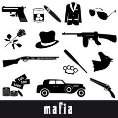 mafia criminal black symbols and icons set eps10