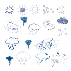 Weather symbols set on on chalkboard