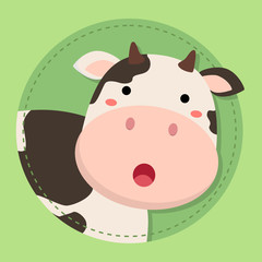 Cute Cow Moo Face in Green Circle Background