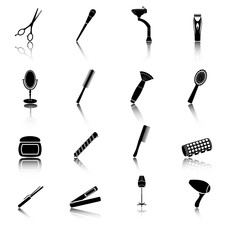 Icon set of hairdresser elements black silhouette . Flat style