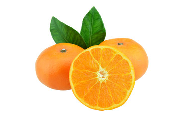 Orange fruit with half and leaves isolated on white background