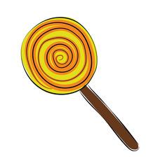 Swirl Lollipop Hand Drawn Colored Vector Icon