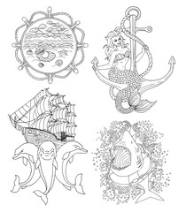 Black and white set of marine symbols