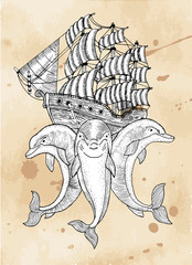 Marine symbol with three dolphins and ship