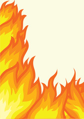 Fire background isolated on white.Vector poster