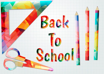 Colored inscription back to school.Colorful school supplies.
