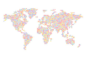Colorful Pixel World Map