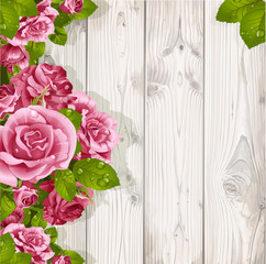Decorative background with romantic pink roses