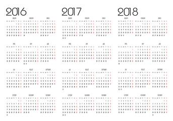 Calendar 2016, 2017 and 2018