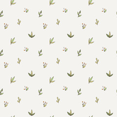 Vector seamless pattern of a variety of hand-drawn leaves and branches. Doodle