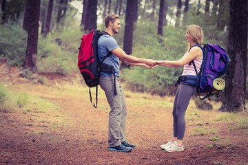 Young happy hiker couple holding hands