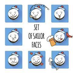 Set of Sailor Faces. Smiles. Fun