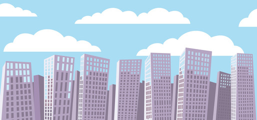 Cartoon cityscape background. Blue sky. White clouds.