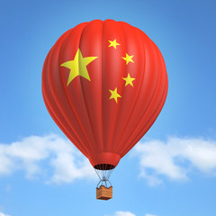 Hot air balloon with Chinese flag