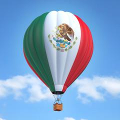 Hot air balloon with Mexican flag