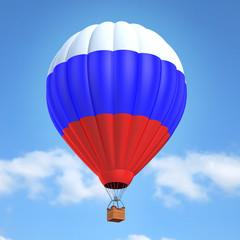 Hot air balloon with Russian flag