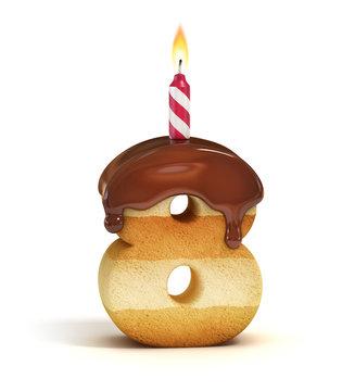 Birthday cake font number 8
