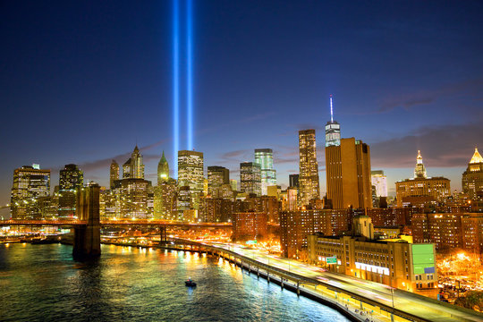 New York City skyline and the Towers of Lights (Tribute in Light)