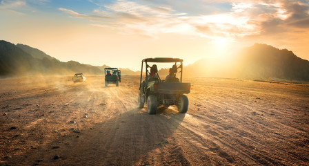 Poster Secheresse Buggies in desert