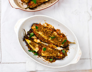 the baked eggplants with parmesan in Italian