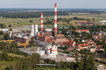 aerial view of coal power plant