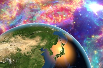 The Earth from space showing Japan on surrealistic background with galaxies, elements of this image furnished by NASA, other orientations available