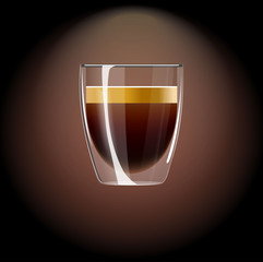 Realistic coffee icon. Vector Illustration with espresso.